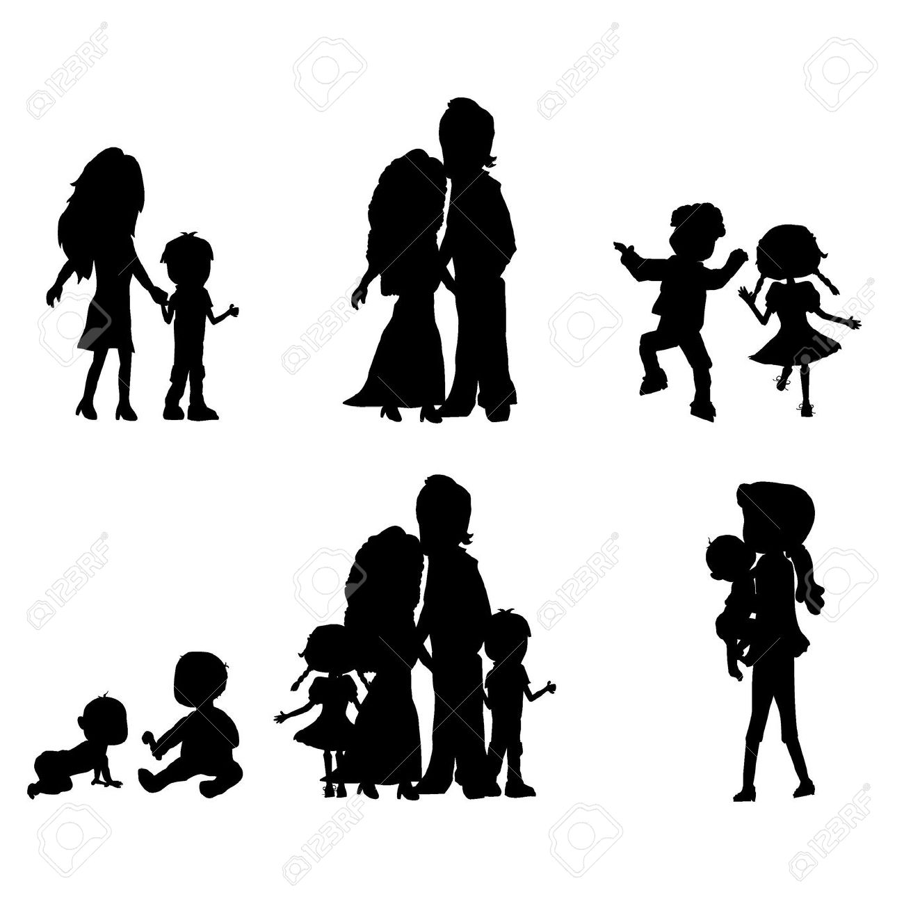 Mother Father Siloute Clipart