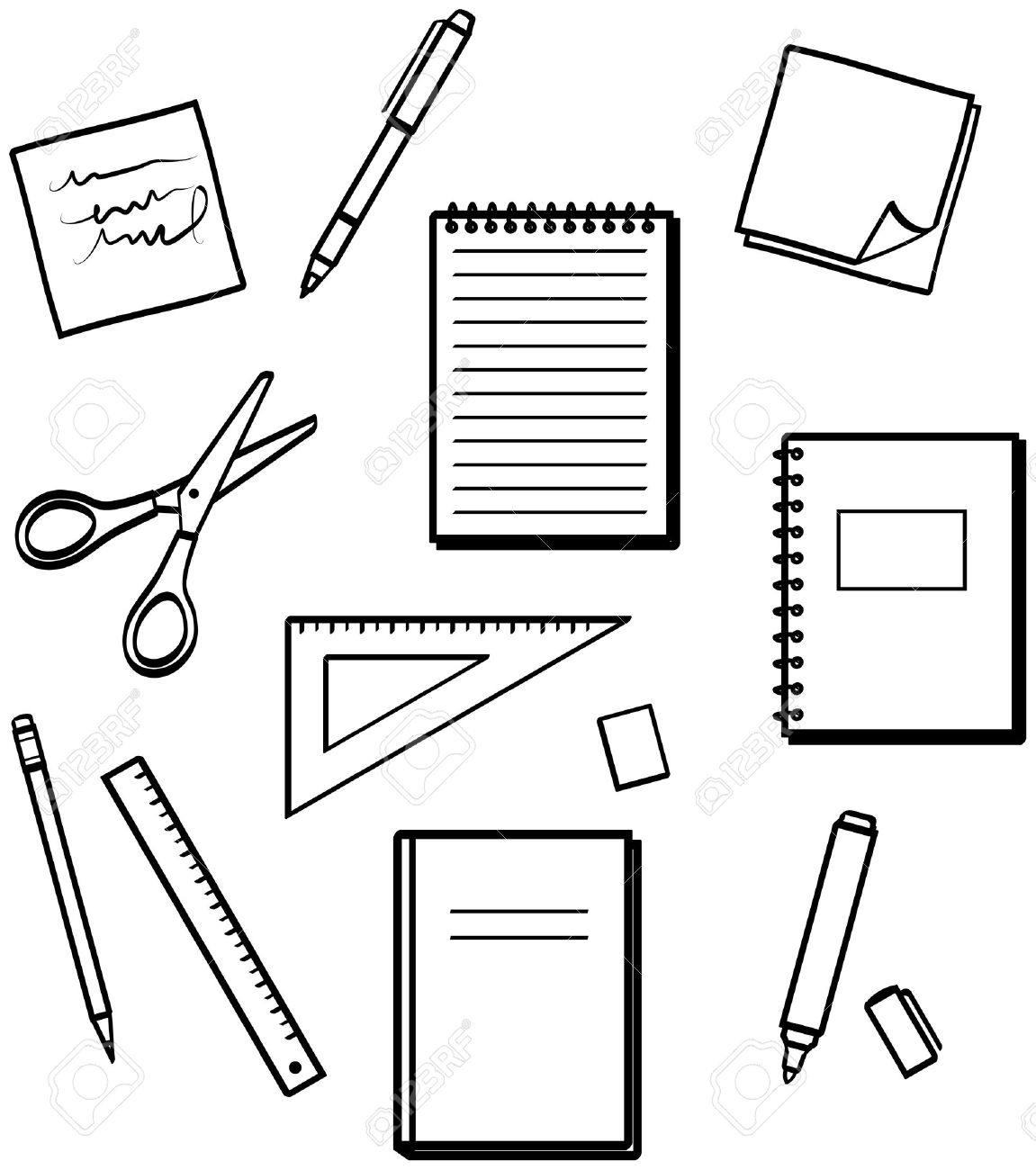 School Supplies Black And White Clipart