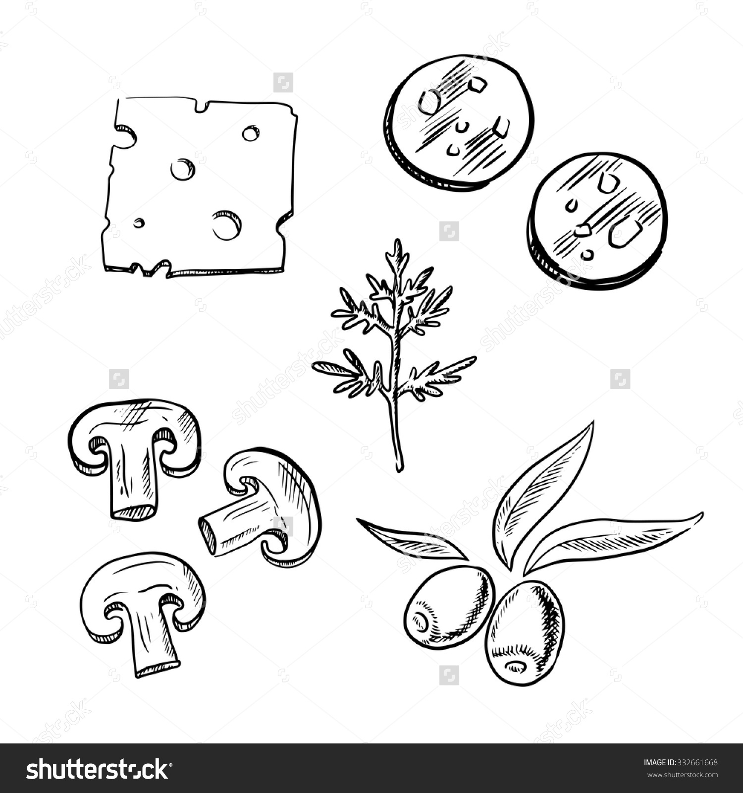 Pizza Toppings Clipart Black And White