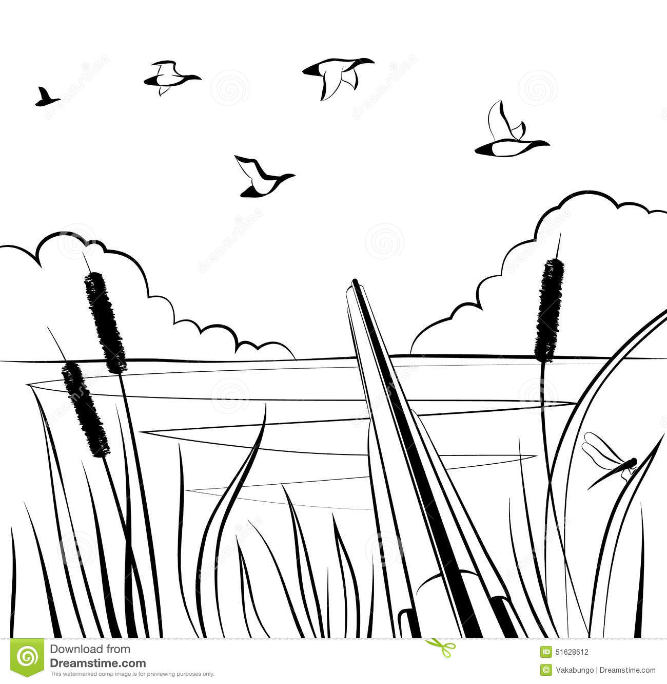 Pond Clipart Black And White
