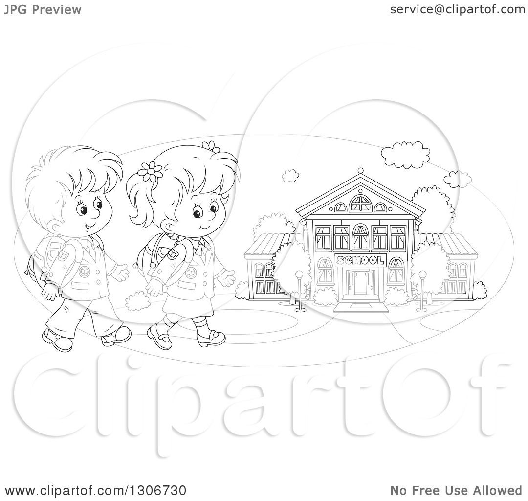 School Children Clipart Outline
