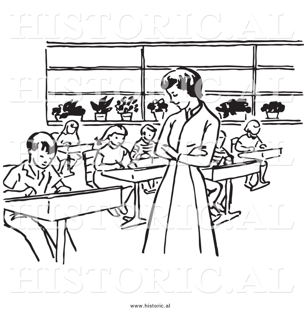 School Classroom Clipart Black And White