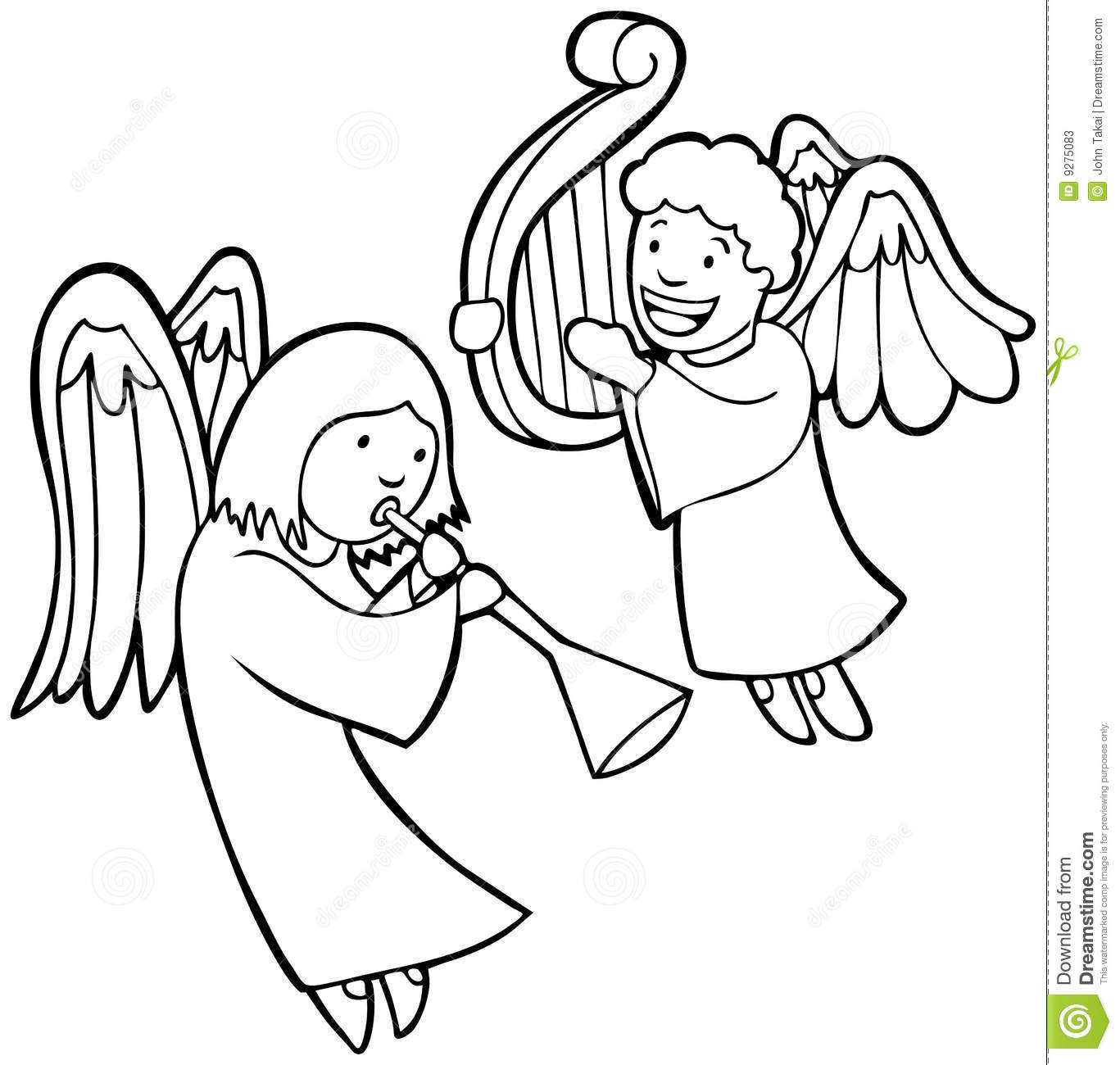 Small Christmas Angel Clipart Black And White