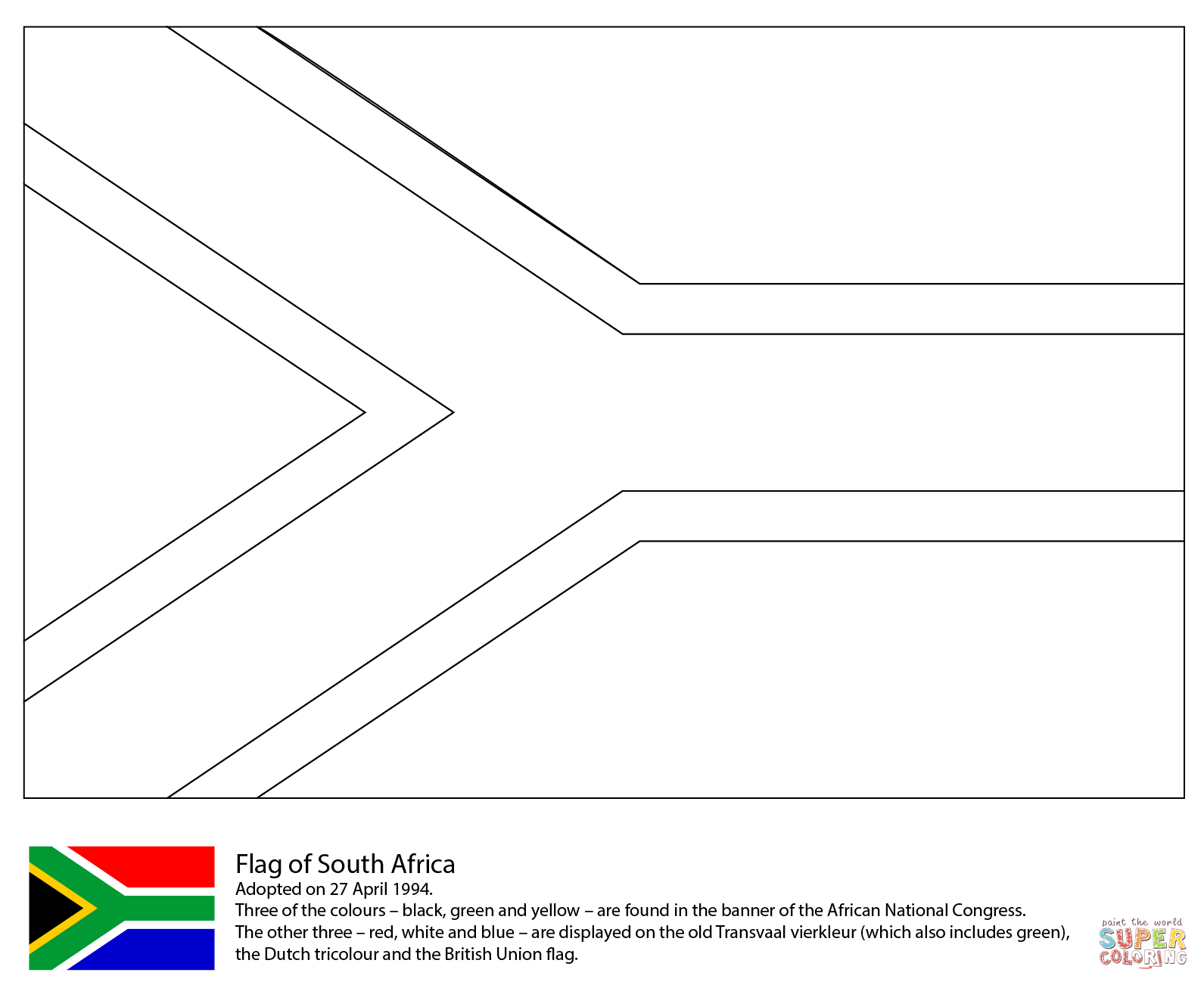 South African Flag Clipart Black And White