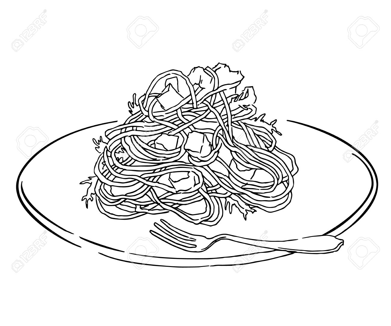 Spaghetti Food Clipart Black And White