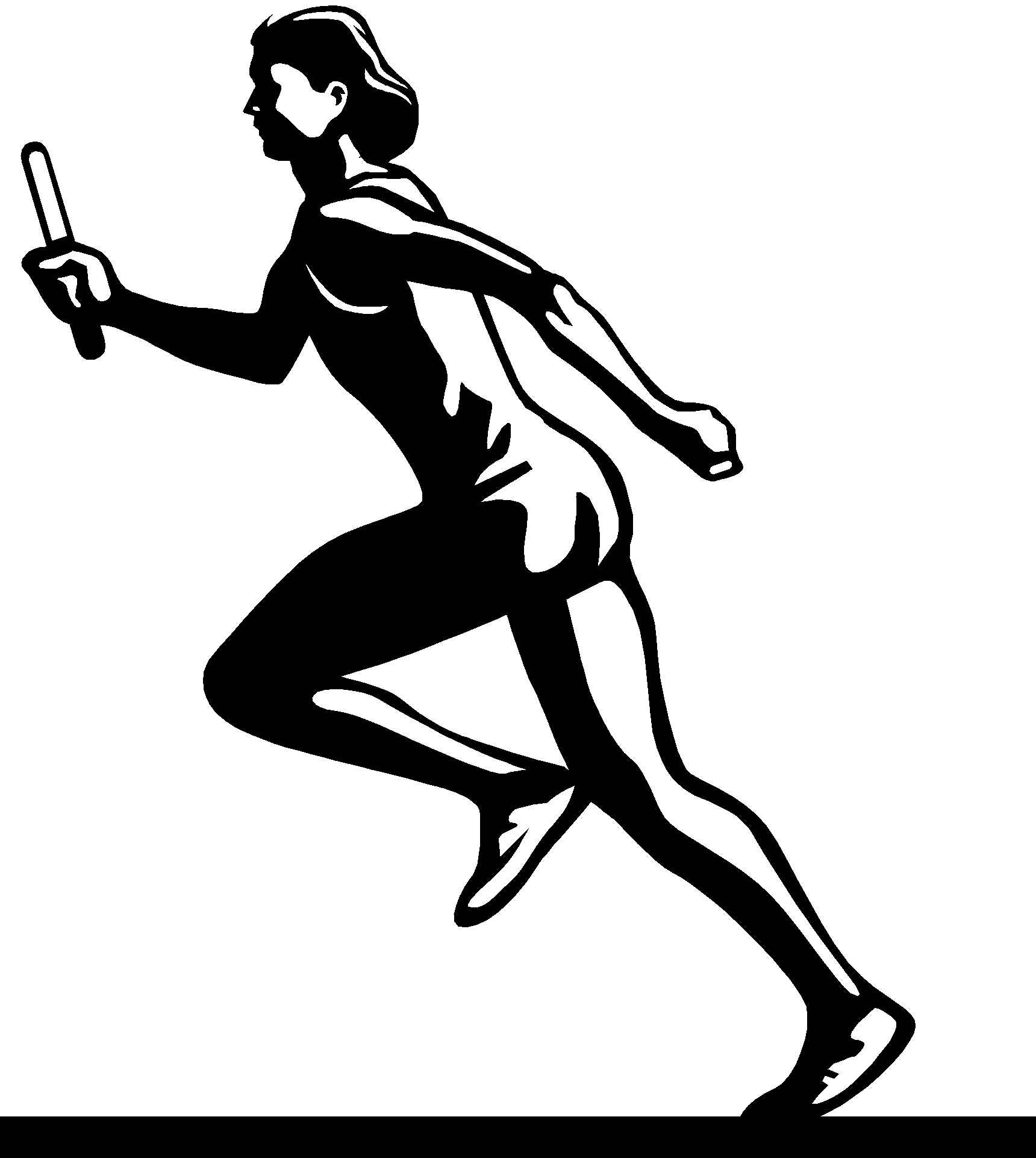 Athlete Clipart Black And White