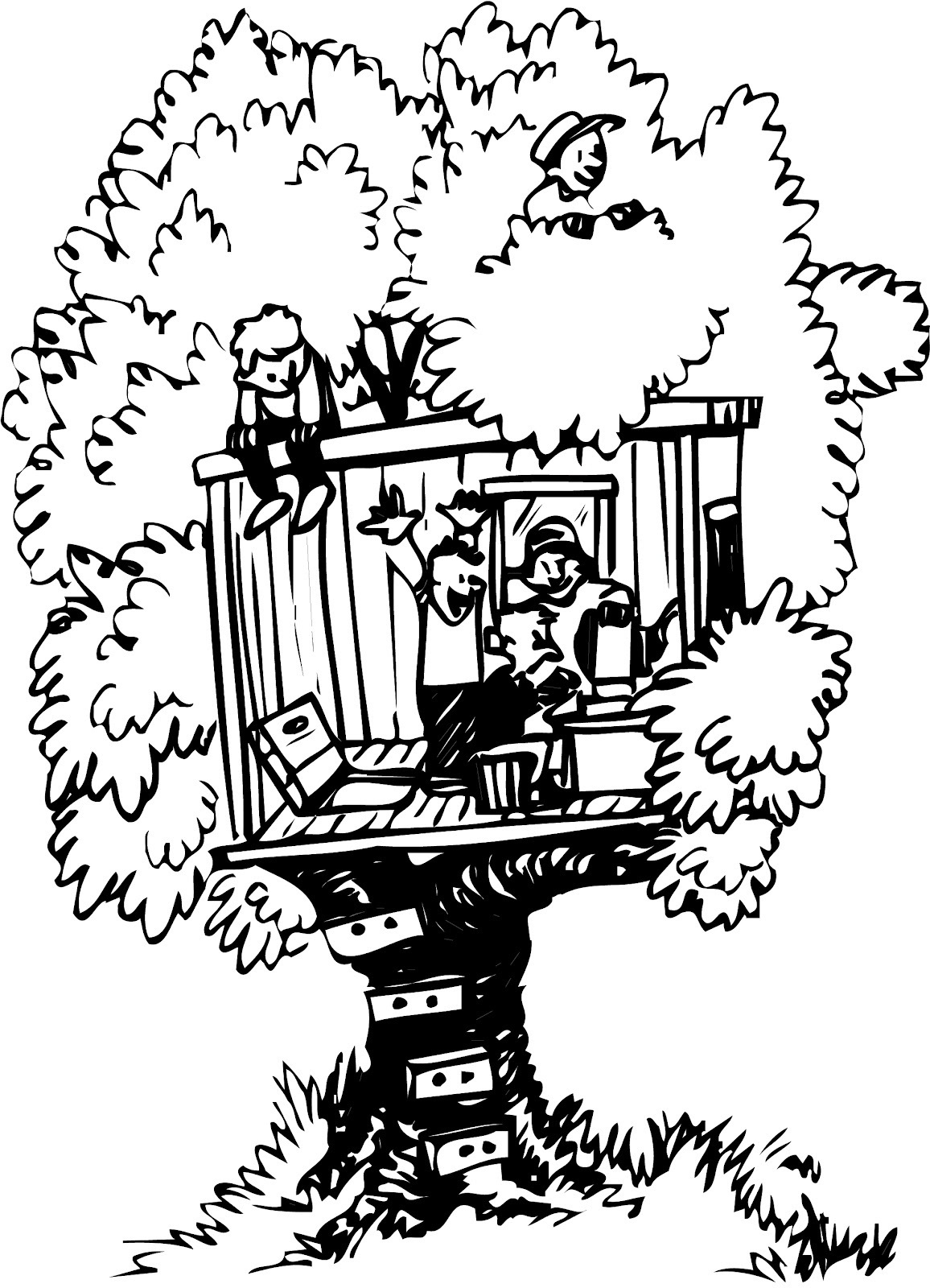 Tree House Clipart Black And White
