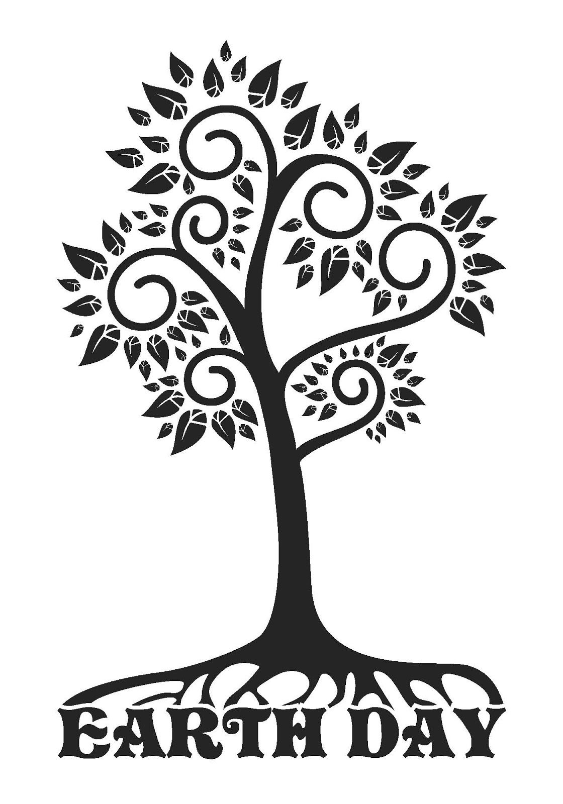 Tree On Earth Clipart Black And White