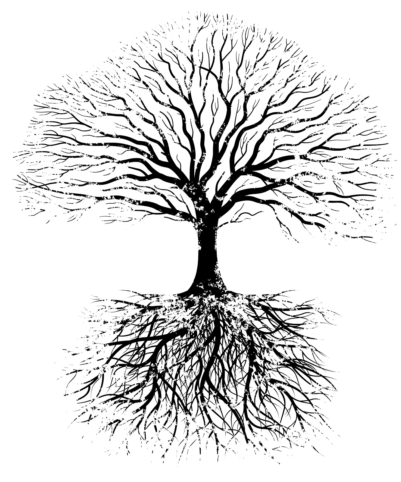 Tree Roots Clipart Black And White