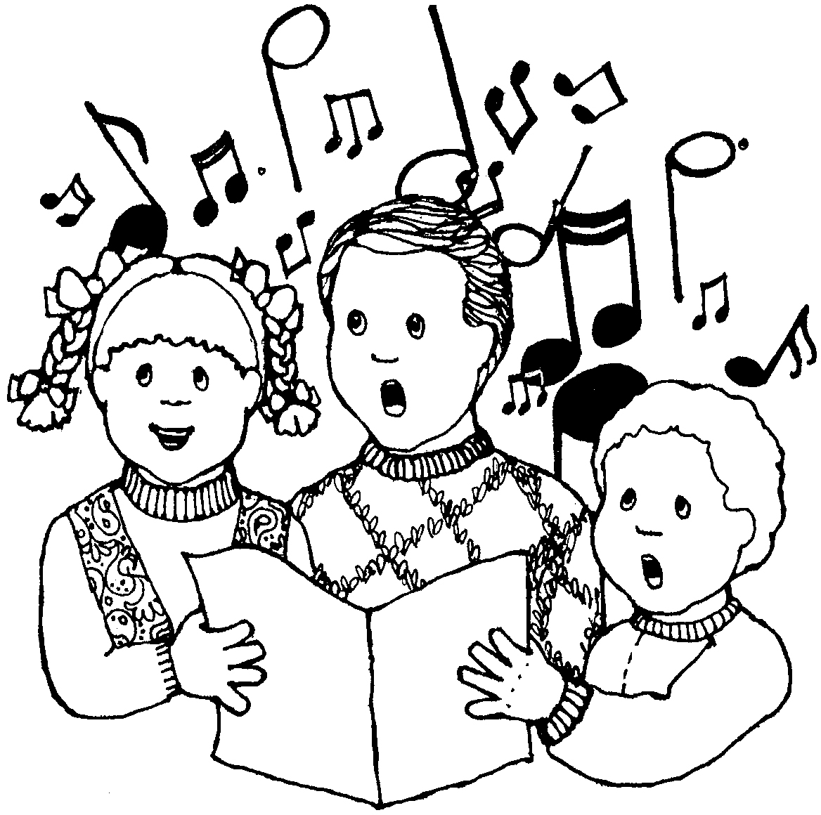 Winter Kids Singing Clipart