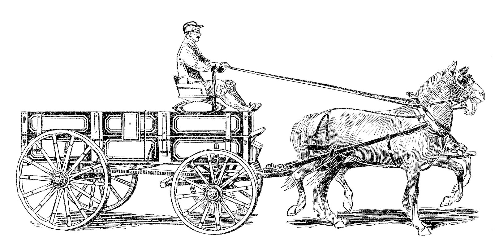 With Horse And Wagon Clipart