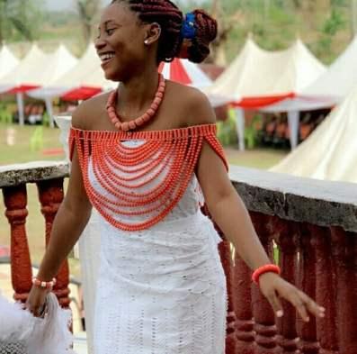 Beautiful Delta Bride In White Akwaocha Traditional Attire With Coral Beads Accessories – Clipkulture