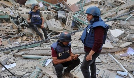 Only a limited number of Gaza journalists possessed safety gear like during the recent violence. (File/AFP)