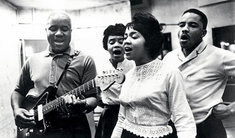 From left: The Staple Singers' Pops, Cleotha, Mavis and Pervis in 1970.
