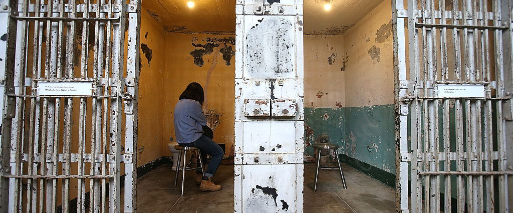 On of the site-specific installations by Ai Weiwei on Alcatraz Island. (Photo by Justin Sullivan/Getty Images)