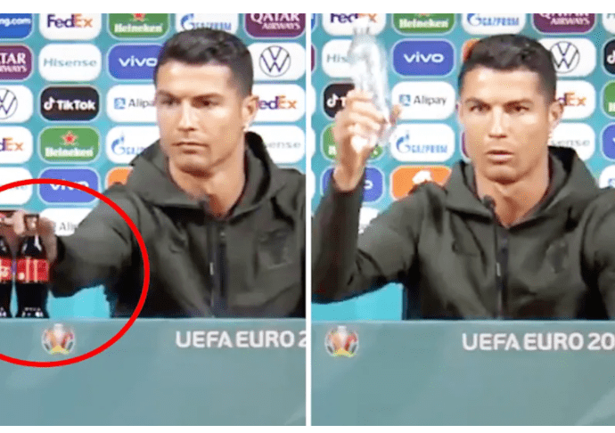 Cristiano Ronaldo (pictured left) removed the Coca Cola bottles from the press conference in front of him, before he claimed: 'Drink water'. (Images: Twitter)