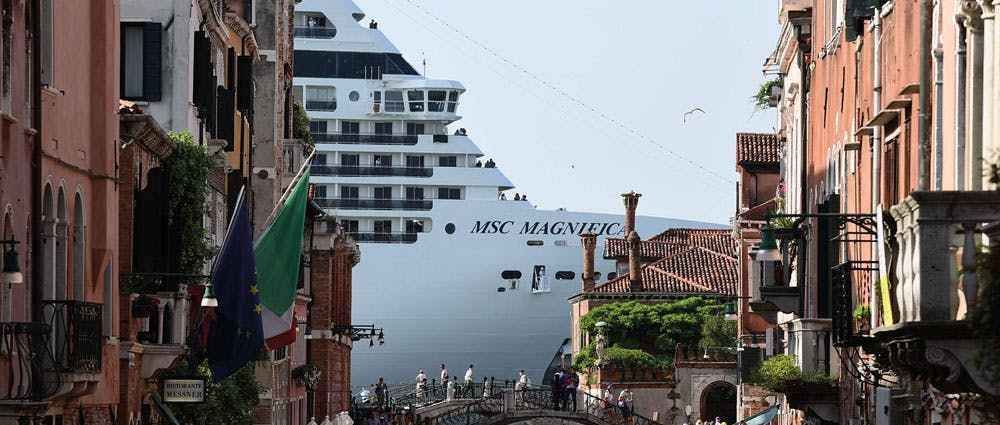The MSC Magnifica seen from a canal in Venice in June 2019. Photo: Miguel Medina/AFP via Getty Images