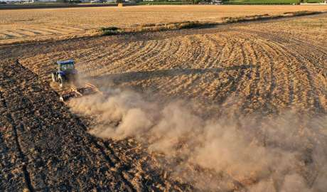 A tractor plows a dry field last month in Madera. Thousands of farms and water agencies that rely on flows from California's vast delta watershed are being told to stop drawing water from rivers and creeks.