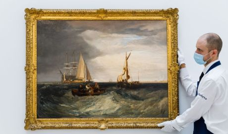 A rare seascape by J.M.W. Turner goes on view at Sotheby's in London on July 5. Photographer: Tristan Fewings/Getty Images