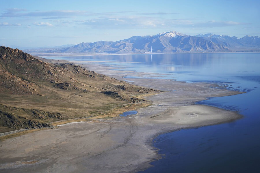Photo: The Great Salt Lake, seen here receding from Antelope Island, near Salt Lake City, on May 4, 2021, has been shrinking for decades. Rick Bowmer/AP