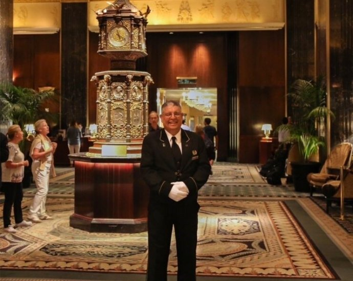 Jimmy Elidrissi was an affable fixture at the Waldorf Astoria for more than a half-century and was considered probably to have been Manhattan's longest-serving bellhop when he retired.Credit...via Elidrissi family