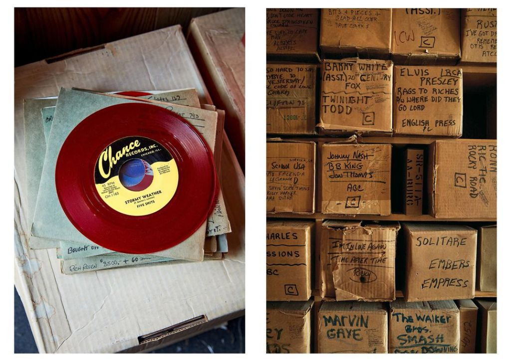 """Left, """"Stormy Weather,"""" in a spoof reproduction record produced by Shively, alludes to another song by the Five Chimes—an original 45 from the 1950s has never surfaced. Right, sometimes even Shively feels overwhelmed by the store's vast holdings, which encompass superstars and unsung talents. """"I don't run this place,"""" he says, """"it runs me."""" (Jason Varney)"""