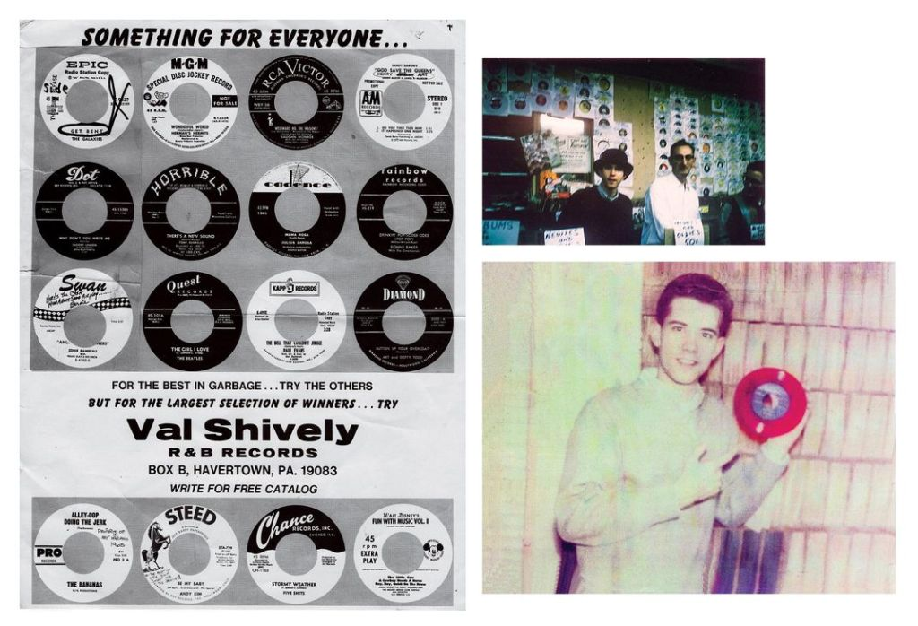 """Left, by 1973, Shively was running ads in Bim Bam Boom, an oldies magazine. Above right, at Times Square Records in Manhattan, a teenage Shively, in hat, with owner Irving """"Slim"""" Rose. Below right, Shively with one of many rarities, a plastic pressing of """"Miss You"""" by the Crows. (Val Shively)"""