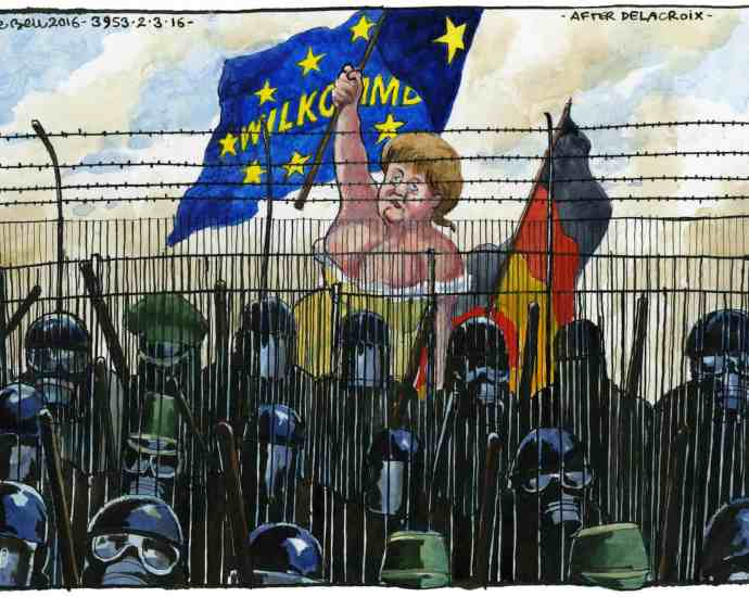 'Instead of closing the borders, in 2015- 16 Merkel offered to receive one million new migrants.' Illustration: Steve Bell/The Guardian