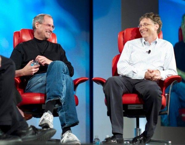 Jobs y Gates en la conferencia D5 en 2007