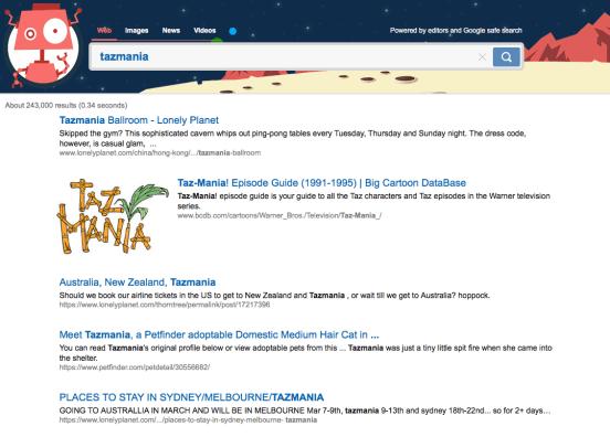 Ejemplo de búsqueda web en Kiddle