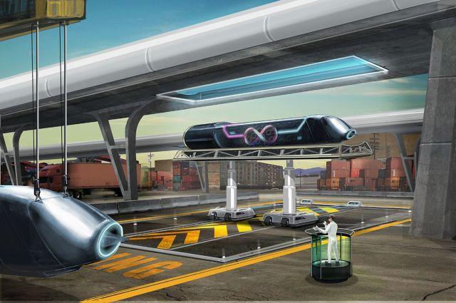 Concepto de muelle de carga de Hyperloop. Imagen: Hyperloop One