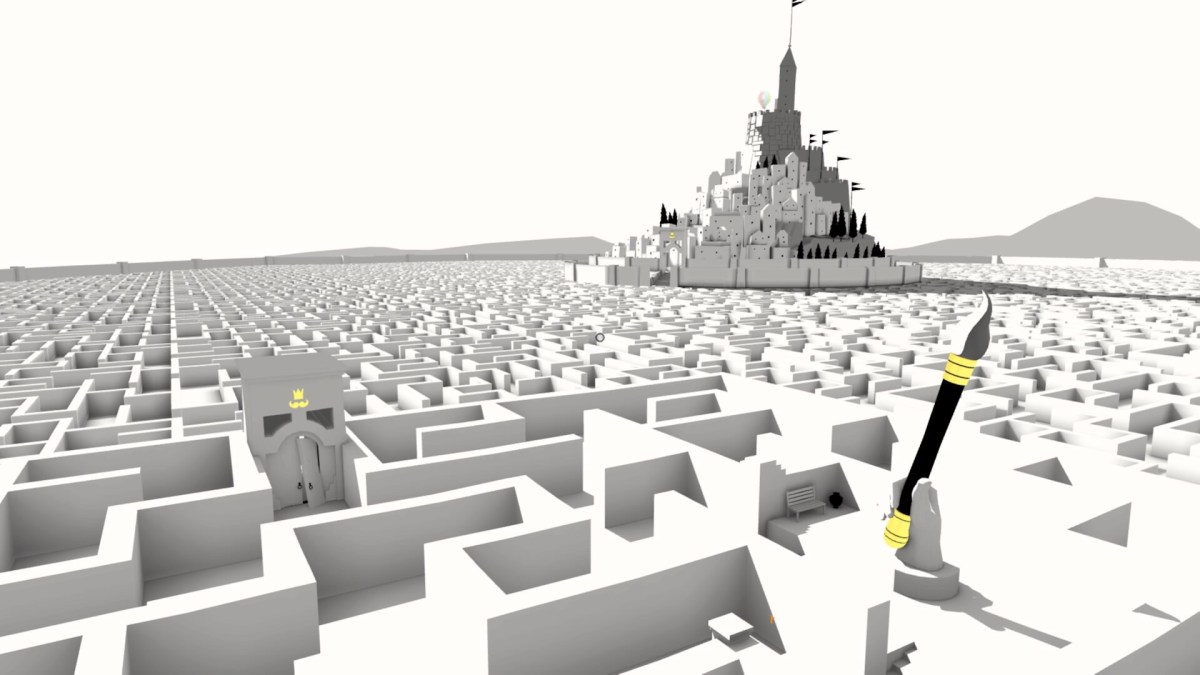 A monochromatic castle with a maze garden in The Unfinished Swan
