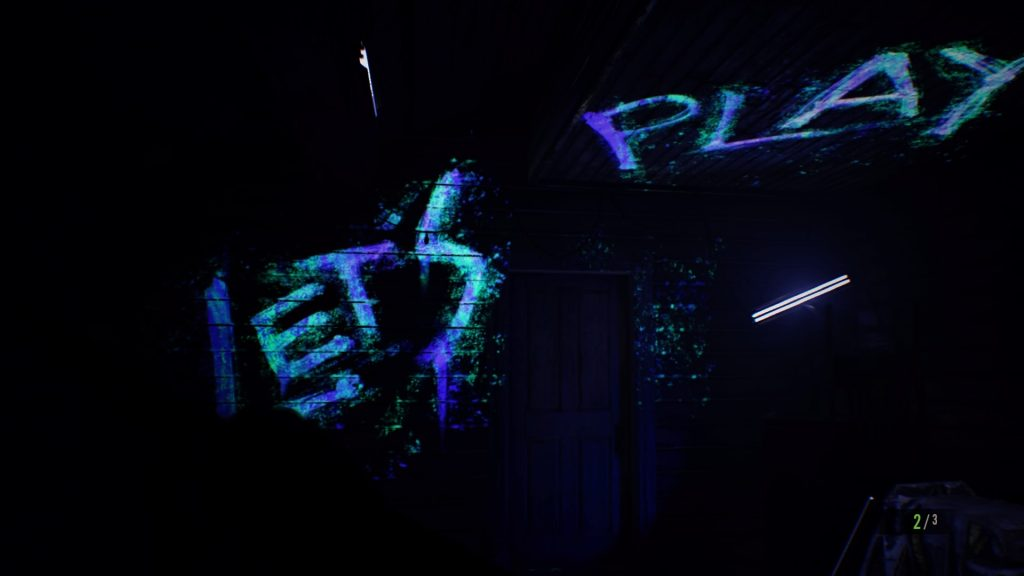 """let's play"" written in blood seen with ultraviolet light"