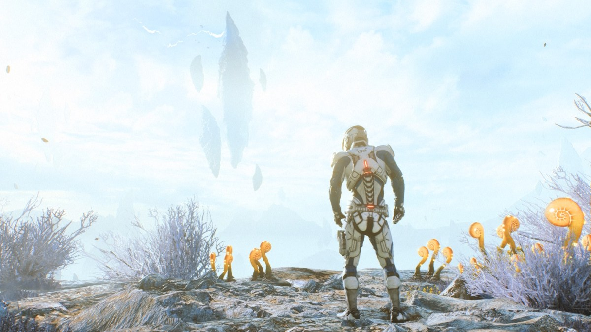 A lone space pioneer looking out on an alien planet at an alien silhouette in the sky in Andromeda