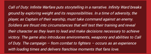 This Call of Duty press release is decidedly less interesting without buzzwords.