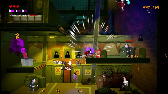A screenshot of Damsel's gameplay. Agent Damsel is taking damage, while a prompt onscreen tells the player to duck.