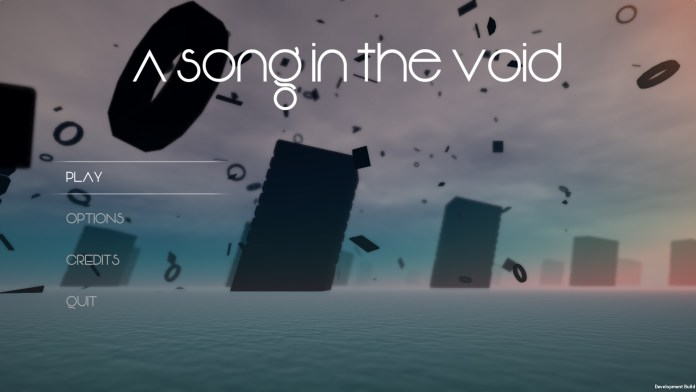 A Song in the Void's title screen. Large pillars rise from an ocean that sprawls behind the game's menu.