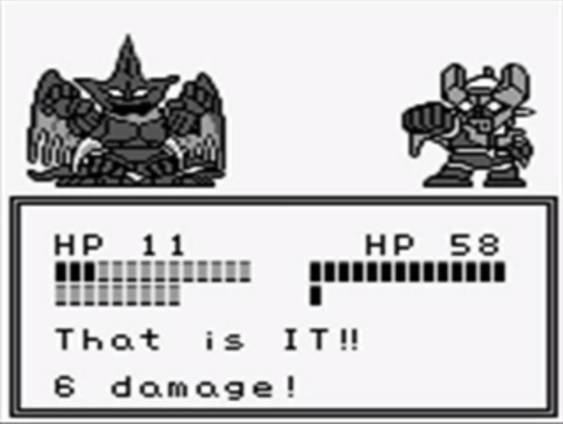 "A gameplay screenshot from Super Robot Wars. A mecha and a large creature square off on a 2D grayscale screen. Below their health bars, the text on-screen reads: ""That is IT!! 6 damage!"""