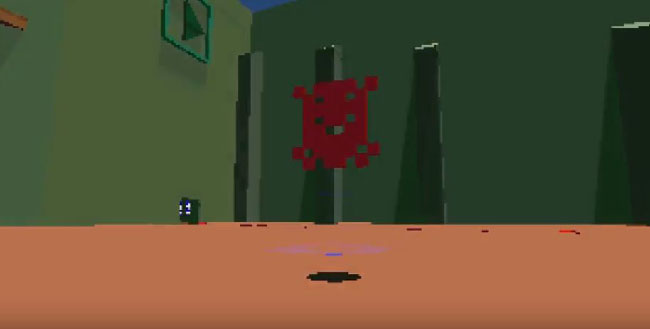 Lowpoly 3D rendering of an abstract character and background.