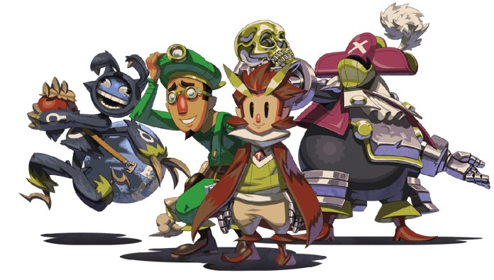 group shot of characters from the game Owlboy