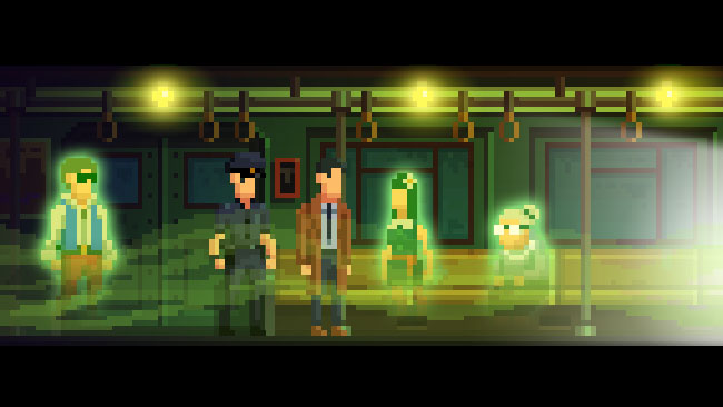 Pixelated detective and officer on a subway train with green transparent ghost people.