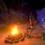 The protagonist sits around a campfire, roasting marshmallows