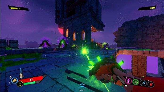 The player firing their shotgun weapon into a crowd of enemies