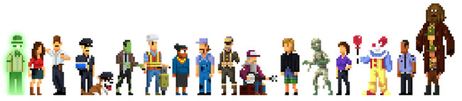 "Lineup of different characters from ""The Darkside Detective."""