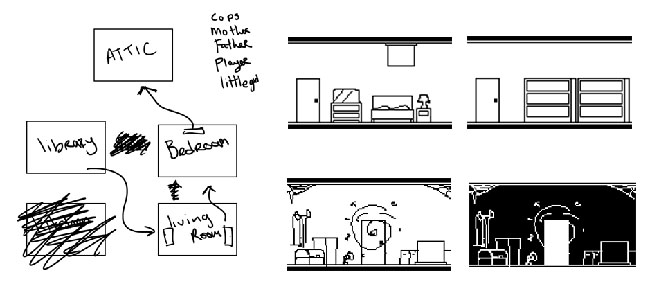 "Black-and-white sketches of rooms for ""The Darkside Detective"" prototype."