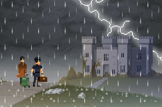 "Preview image of ""The Darkside Detective: Season 2,"" showing Detective McQueen and Officer Dooley in front of a castle during a storm."