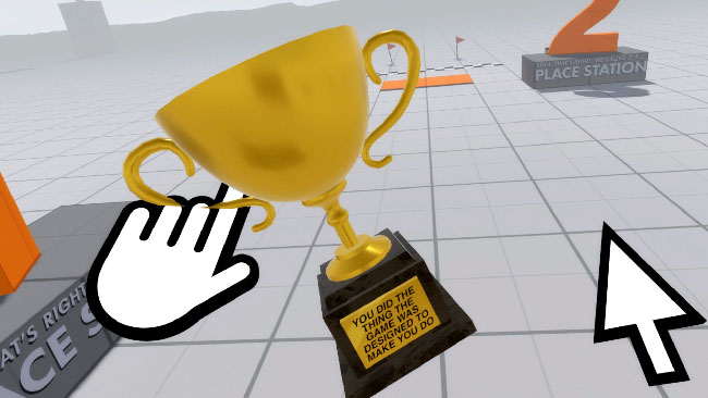 A blank gray grid space, with a trophy held up by a disembodied and graphic white hand, with a similar-looking pointer arrow nearby.