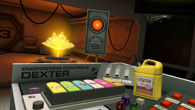 What looks like a control room, with brightly colored buttons and a holographic grid model in the background.
