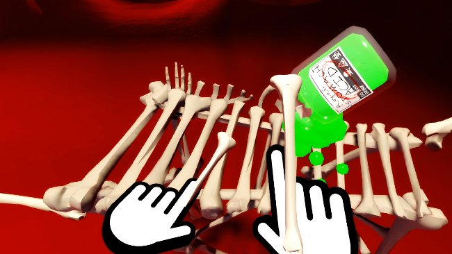 Stylized, white, disembodied hands play a bone xylophone, while a bottle of green acid is spilled.