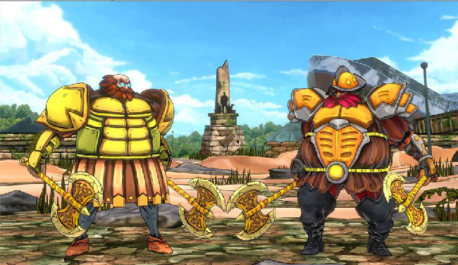 "Screenshot of developmental art from ""Bayani,"" showing two versions of a rotund armored warrior with double axes. This is the fighting game version of historical figure Magellan."